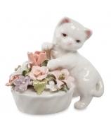Фарфоровая статуэтка «Котенок с цветочным горшочком»