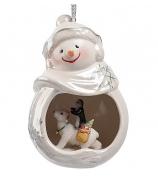 Фарфоровая статуэтка-подвеска «Веселый снеговик»