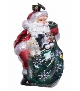 Елочная игрушка «Санта со щенками»