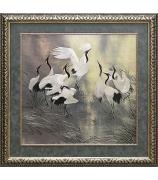 Шелковая картина «Восемь танцующих журавлей»