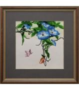 Шелковая картина «Ипомея с бабочками»