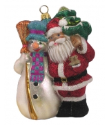 Елочная игрушка «Снеговик и Санта»