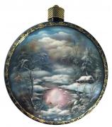 Елочный шар-диск «Зимний пейзаж»