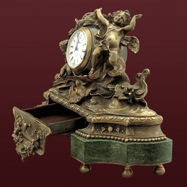 Каминные часы из бронзы «Вселенная» с выбвижным ящиком
