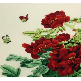Вышитая шелковыми нитями картина ««Роскошные пионы»»