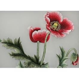 Вышитая шелковыми нитями картина «Маки»