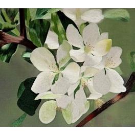Вышитая шелковыми нитями картина «Яблоневый цвет»