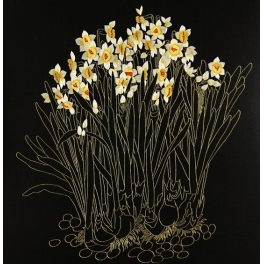 Вышитая шелковыми нитями картина «Нарциссы»