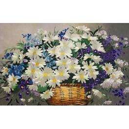 Вышитая шелковыми нитями картина «Корзина цветов»