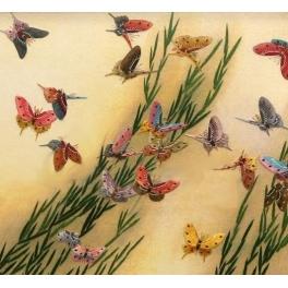 Вышитая гладью картина «Бабочки»