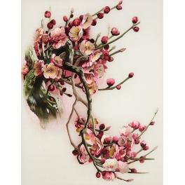 Вышитая шелком картина «Цветущий гранат»