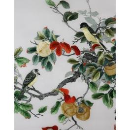 Вышитая шелковыми нитями картина «Птички на персиковом дереве»