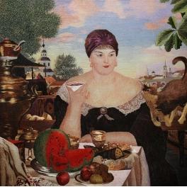 Вышитая шелковыми нитями картина «За чаем»