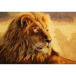 Вышитая шелковыми нитями картина «Золотой лев»