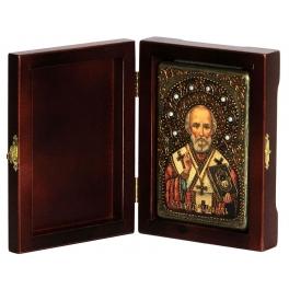 Настольная икона  «Святитель Николай, архиепископ Мир Ликийских, чудотворец» на морёном дубе