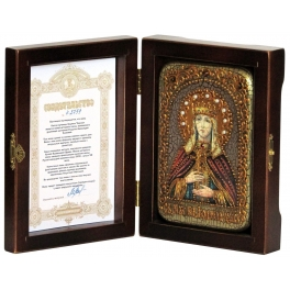 Икона «Святая Людмила Чешская» в деревянной шкатулке