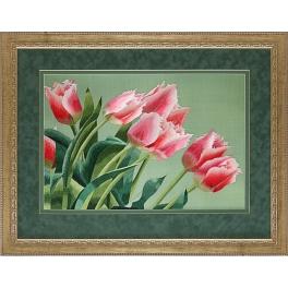 Вышитая шелковыми нитями картина «Тюльпаны»