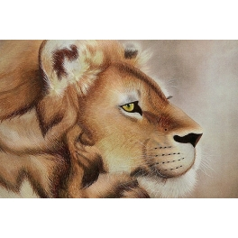 Вышитая шелковыми нитями картина «Голова льва»