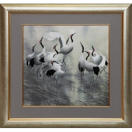 Вышитая шелковыми нитями картина «Восемь танцующих журавлей»