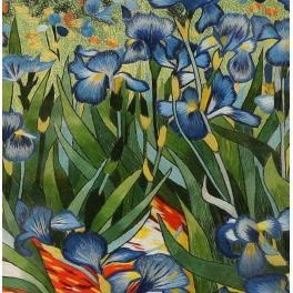 Вышитая шелковыми нитями картина «Ирисы» (по мотивам В. Ван Гога)