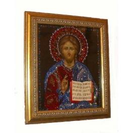 Икона инкрустированная кристаллами Swarovski «Господь Вседержитель»