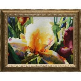 Вышитая шелковыми нитями картина «Желтый ирис»