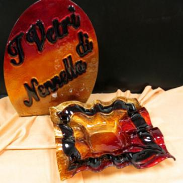 Квадратное блюдо из стекла Мурано, 30х30 см