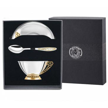 Мельхиоровый набор для чая «Медовый» с позолотой: чашка, блюдце и ложка