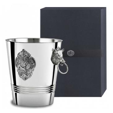 Ведро для шампанского «Кабан» с накладками и литыми ручками, материал: мельхиор