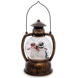 Новогодний сувенир с подсветкой — Снежный шар «Снежная семья»
