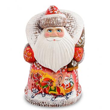 Резная фигурка «Дед Мороз с мешком», ручная работа