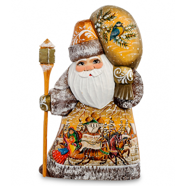 Резная фигура «Дед Мороз с мешком подарков», производство Россия