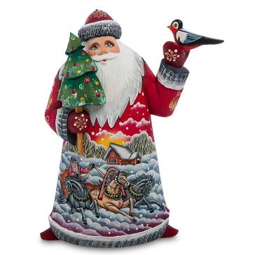 Резная фигура «Дед Мороз с птичкой», производство Россия
