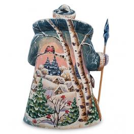 Резная статуэтка из дерева «Дед Мороз с оленем», производство Россия