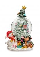 Снежный шар «Снеговик у ёлочки» (с подсветкой)