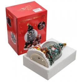 Новогодний музыкальный сувенир с подсветкой — Снежный шар «Снеговик у ёлочки»