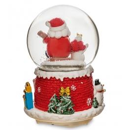 Новогодний музыкальный сувенир с подсветкой — Снежный шар «Санта со снеговичком»