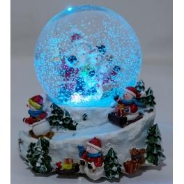 Новогодний музыкальный сувенир с подсветкой — Снежный шар «Зимние игры»