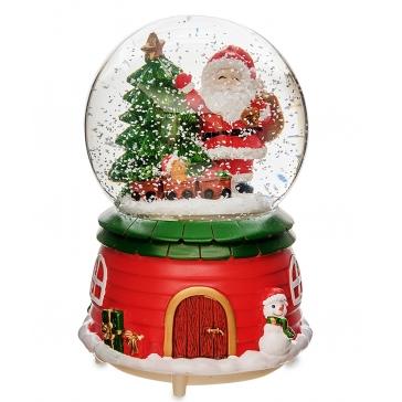 Новогодний музыкальный сувенир с подсветкой — Снежный шар «С Новым годом!»