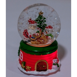 Новогодний музыкальный сувенир с подсветкой — Снежный шар «Подарки от Санты»