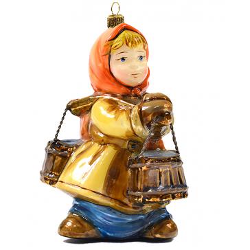 Елочная игрушка из стекла «По воду», художественная роспись