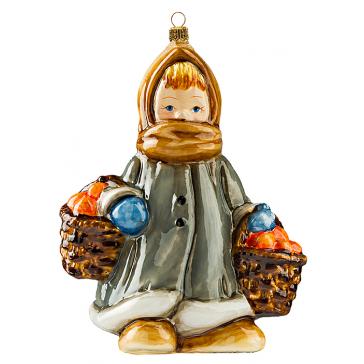 Елочная игрушка ручной работы «Девочка с апельсинами»
