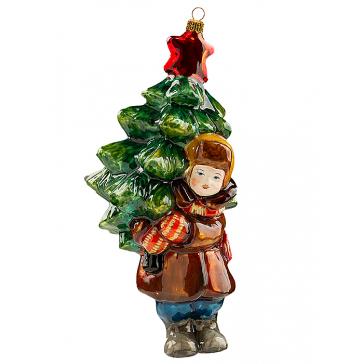 Стеклянная елочная игрушка «Мальчик с елкой», 12х8 см