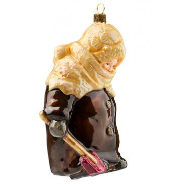 Елочная игрушка из стекла «Девочка с лопаткой»