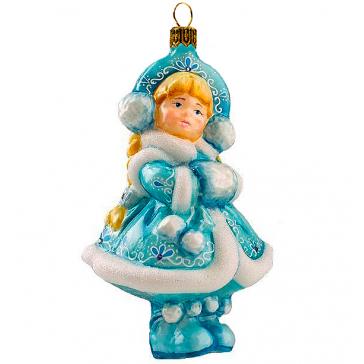 Елочная игрушка с художественной росписью «Снегурочка с муфточкой»