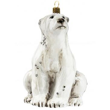 Елочная игрушка «Белый медведь», производство Польша