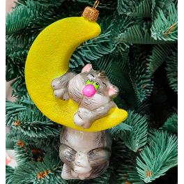 Стеклянная елочная игрушка «Кот на месяце», производство Польша