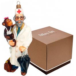 Стеклянная елочная игрушка «Добрый доктор Айболит» с художественной росписью