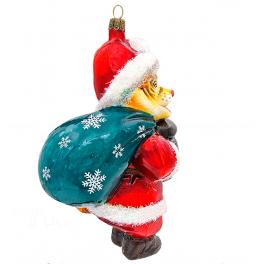 Елочная игрушка из стекла «Полосатый Дед Мороз», символ 2022 года
