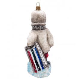 Елочная игрушка из стекла «Я за санками пошла», Польша